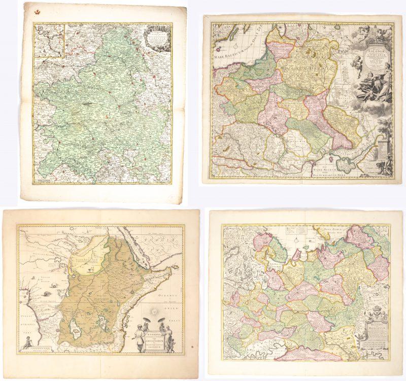Vier landkaarten betreffende Ethiopië, Litouwen en Moskou en Champagne.