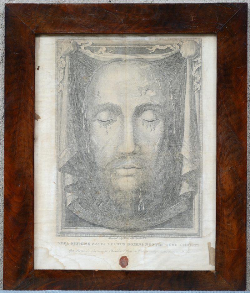 """""""De zweetdoek van Veronica"""". Een XVIIIe eeuwse gravure op textiel. Met zegel."""