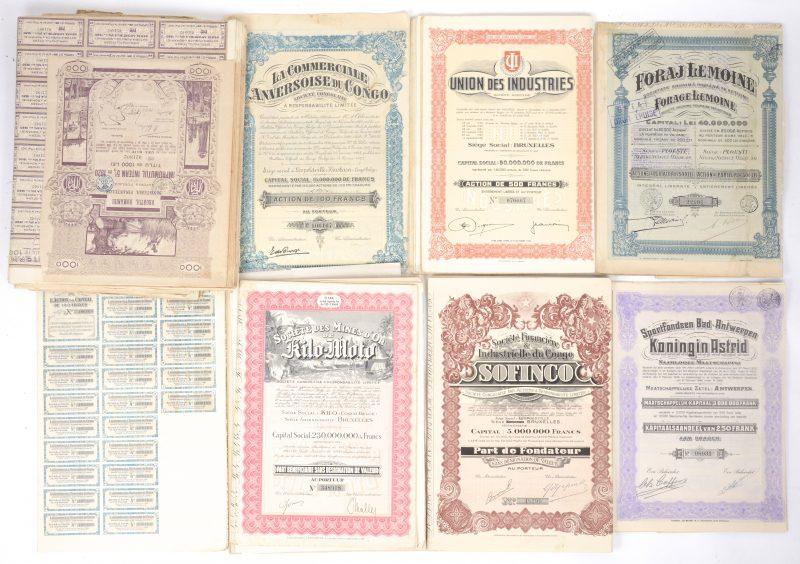 Een gevarieerd lot oude participatiebewijzen, waaronder Belgische en koloniale bedrijven.