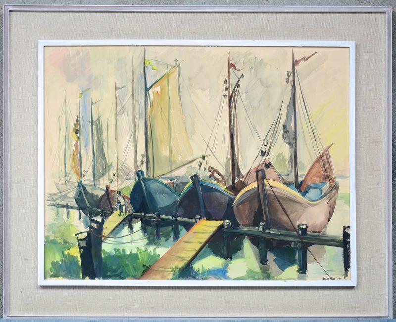 """""""Vissersboten in de haven"""". Aquarel. Gesigneerd en gedateerd '60."""
