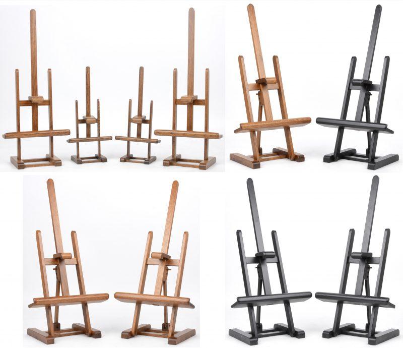 Een lot van tien kleine houten schildersezeltjes.