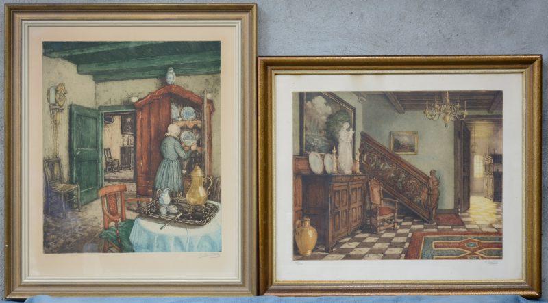 """""""Barok interieur"""". Kleurenets. Gesigneerd en genummerd 133/300 buiten de plaat (41 x 48 cm) en """"Vrouw bij een bordenkast"""". Kleurenets. Gesigneerd en E.A. buiten de plaat (43 x 51 cm)."""