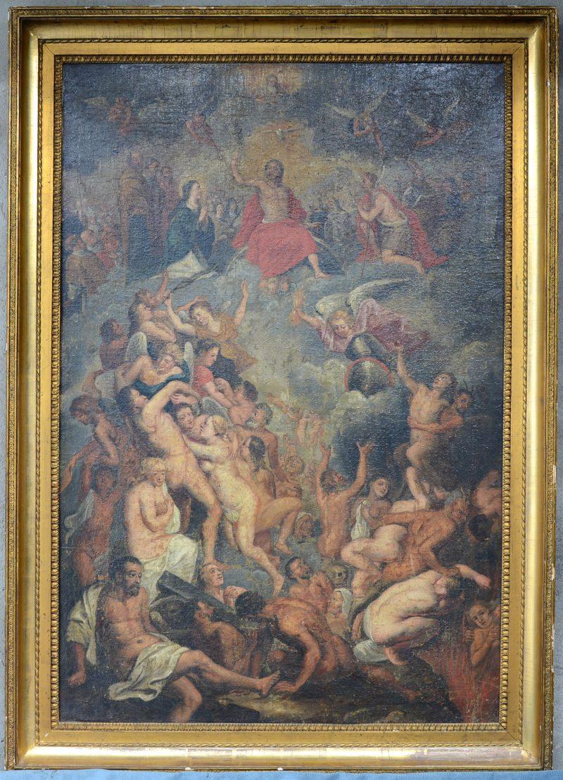 """""""Het laatste oordeel. Olieverf op doek. Toegeschreven aan Crispain Van den Broeck. (1524 - 1588) Herdoekt."""