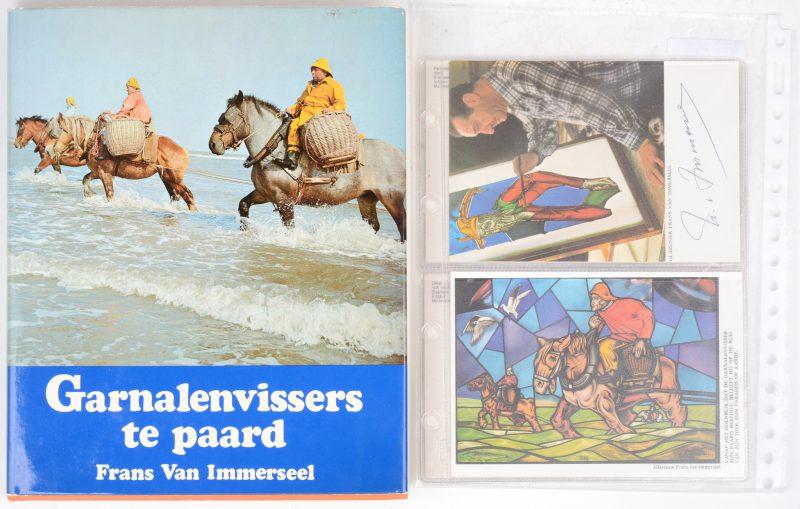 Een boek over Frans Van Immerseel, met opdracht en signatuur, evenals twee prentkaarten, eveneens gesigneerd.