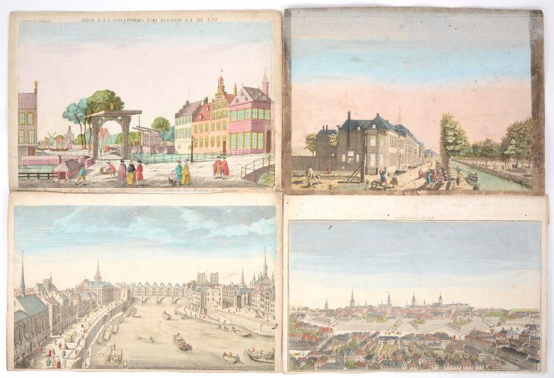 Een lot van vier ingekleurde oude gravures met zichten op Den Haag Berlijn en Parijs.