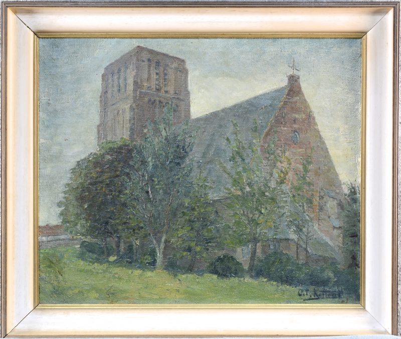 """""""Kerk te Lissewege"""". Olieverf op doek. Gesigneerd."""