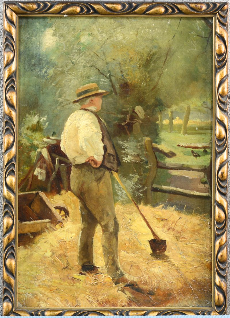"""""""Boer"""". Olieverf op doek. Toegeschreven aan, maar niet gesigneerd. Herkomst: familie van de schilder."""