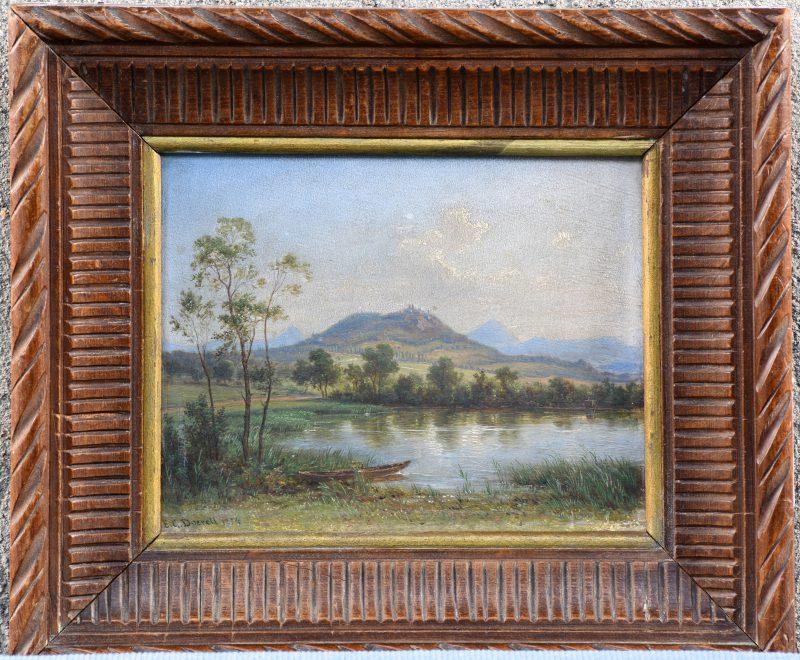 """""""Sloep aan een meer"""". Olieverf op paneel. Gesigneerd en gedateerd 1874."""