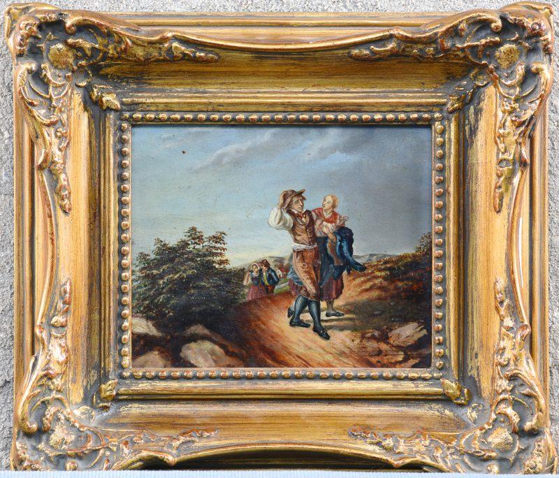 """""""Wandelende koppels"""". Olieverf op paneel. XIXe eeuw."""