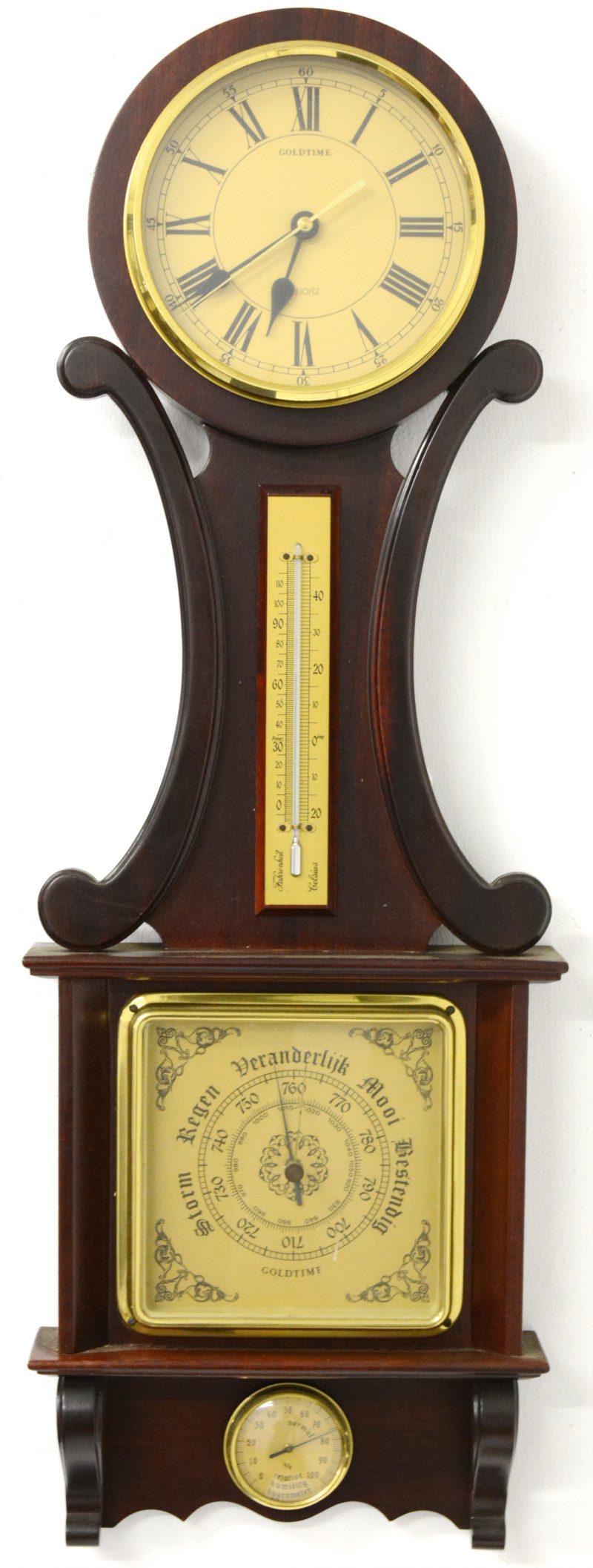 Een mahoniehouten banjobarometer.