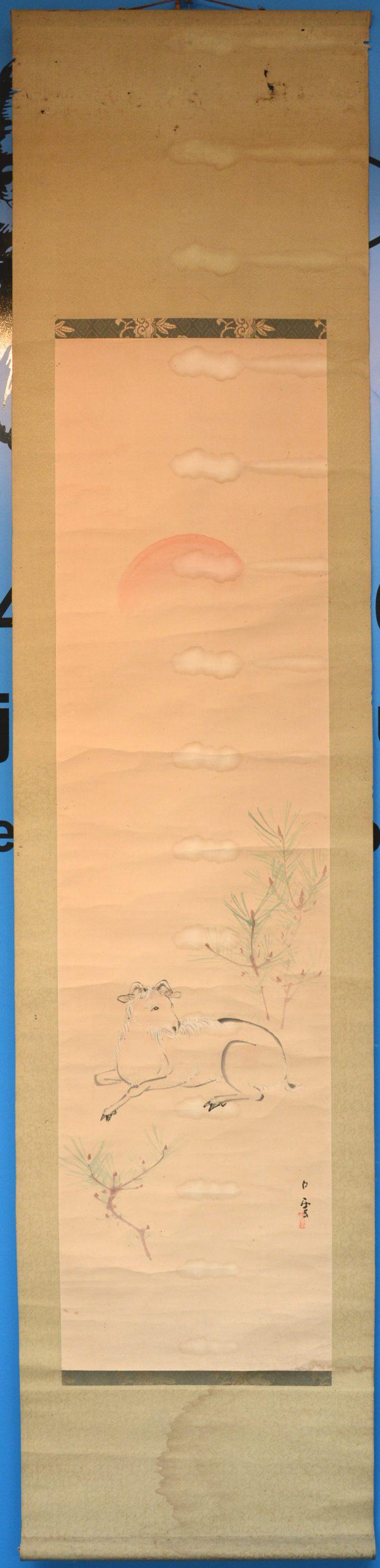 Een handgeschilderde Chinese scroll met een afbeelding van een bok. Inkt op papier. Vochtvlekken.