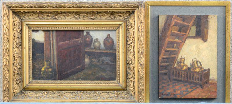 """""""Een paar interieurs te Bokrijk"""". Twee schilderijtjes, olieverf op paneel. Beide gesigneerd."""