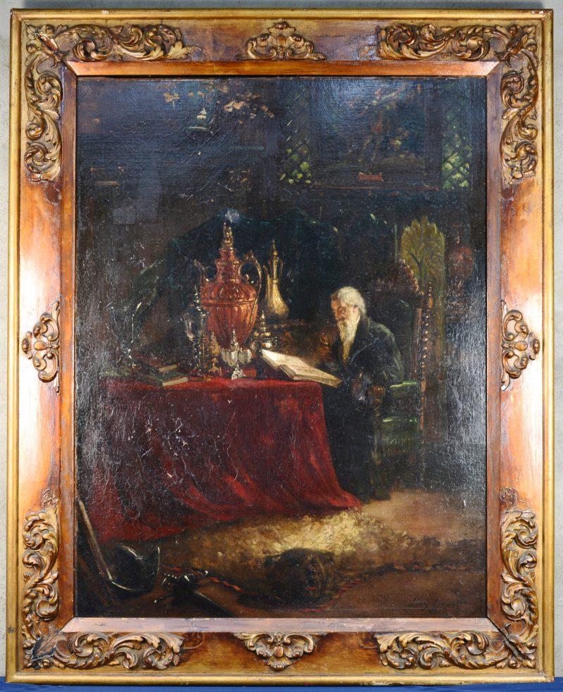 """""""Oude man in zijn studie"""". Olieverf op doek. Gesigneerd en gedateerd 'Paris, 1901'. In origineel kader. Werk op te frissen."""