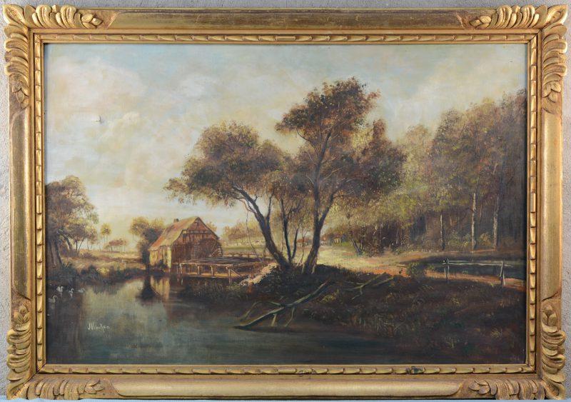 """""""Romantisch landschap met watermolen"""". Olieverf op doek. Gesigneerd. Naar een werk van Meindert Hobbema. Perforatie links boven."""