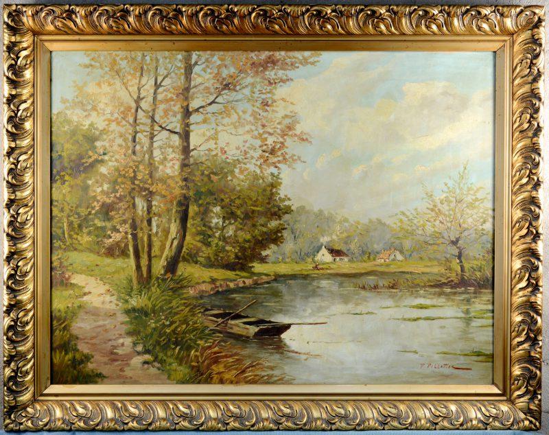 """""""Landschap met een meer"""". Olieverf op doek. Gesigneerd."""