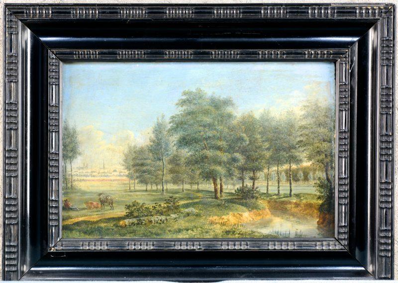 """""""Rivierlandschap met koeien"""". Olieverf op paneel. Gesigneerd en gedateerd 1827."""