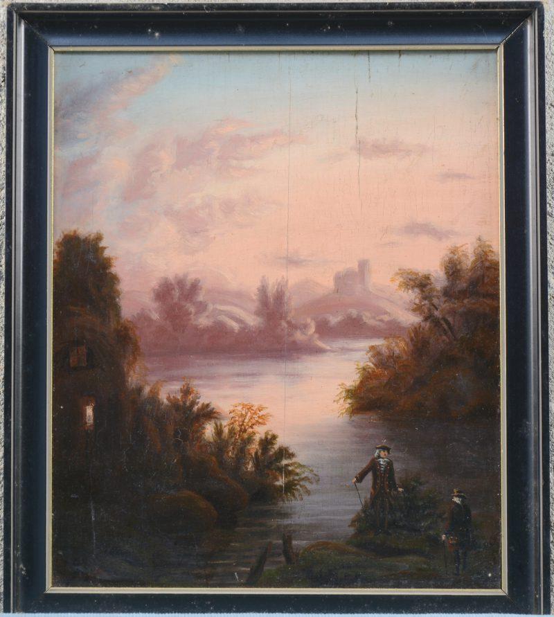 """""""Heren aan een stroom"""". Olieverf op paneel. Omstreeks 1900."""