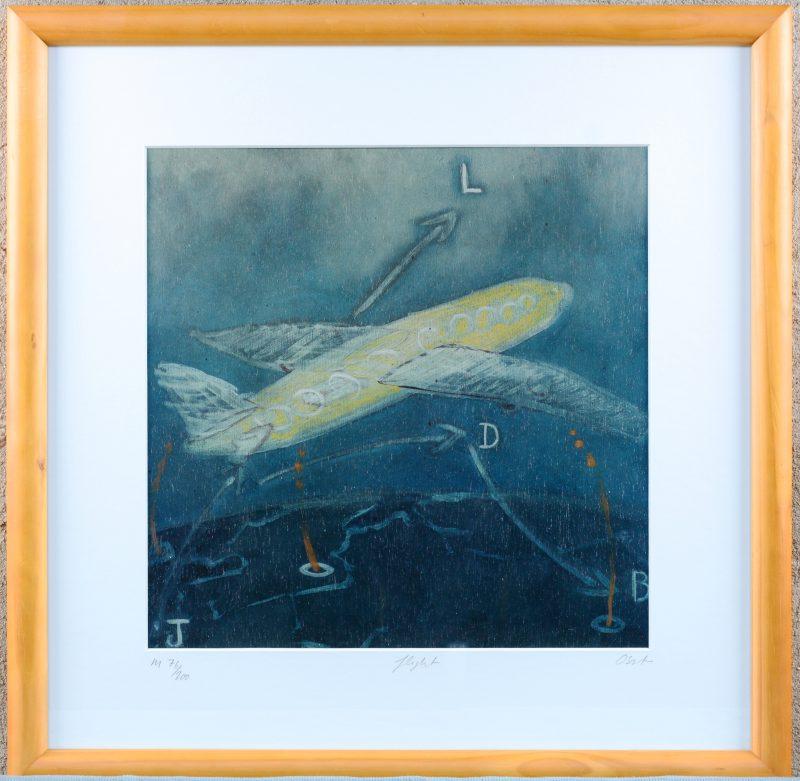 """""""Flight"""". Een lithografie. Gesigneerd buiten de plaat."""