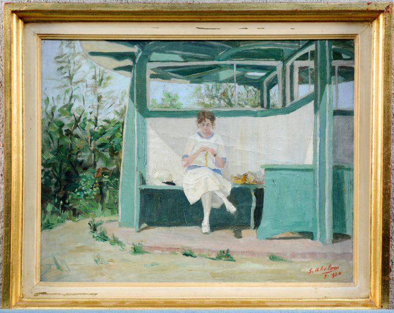 """Le pavillon"". Olieverf op doek. gesigneerd en gedateerd 7-1920."