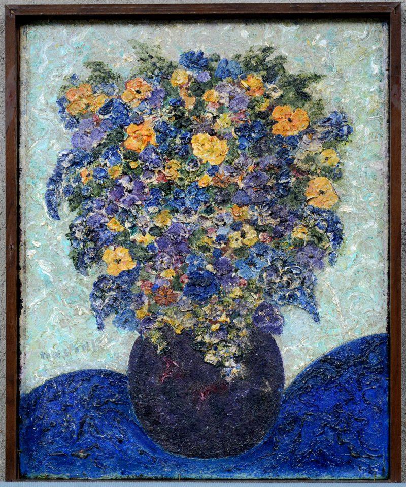 """""""Bloemenstilleven"""" & """"Surrealistisch landschap"""". Olieverf op paneel. Langs beide kanten beschilderd. Gesigneerd."""