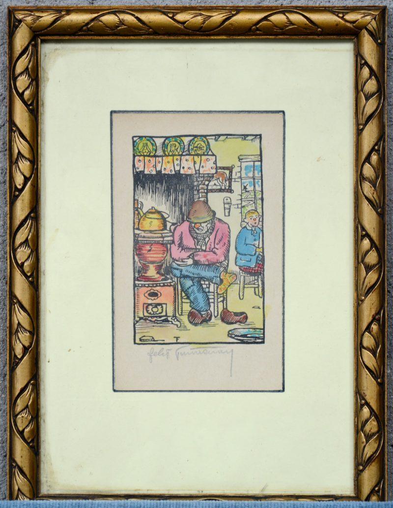 """""""Bij de Leuvense stoof"""". Ingekleurde houtsnede. Gesigneerd."""