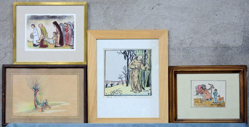 Vier diverse prenten. Evenals een tekening van Fred Bogaerts (16 x 24 cm).