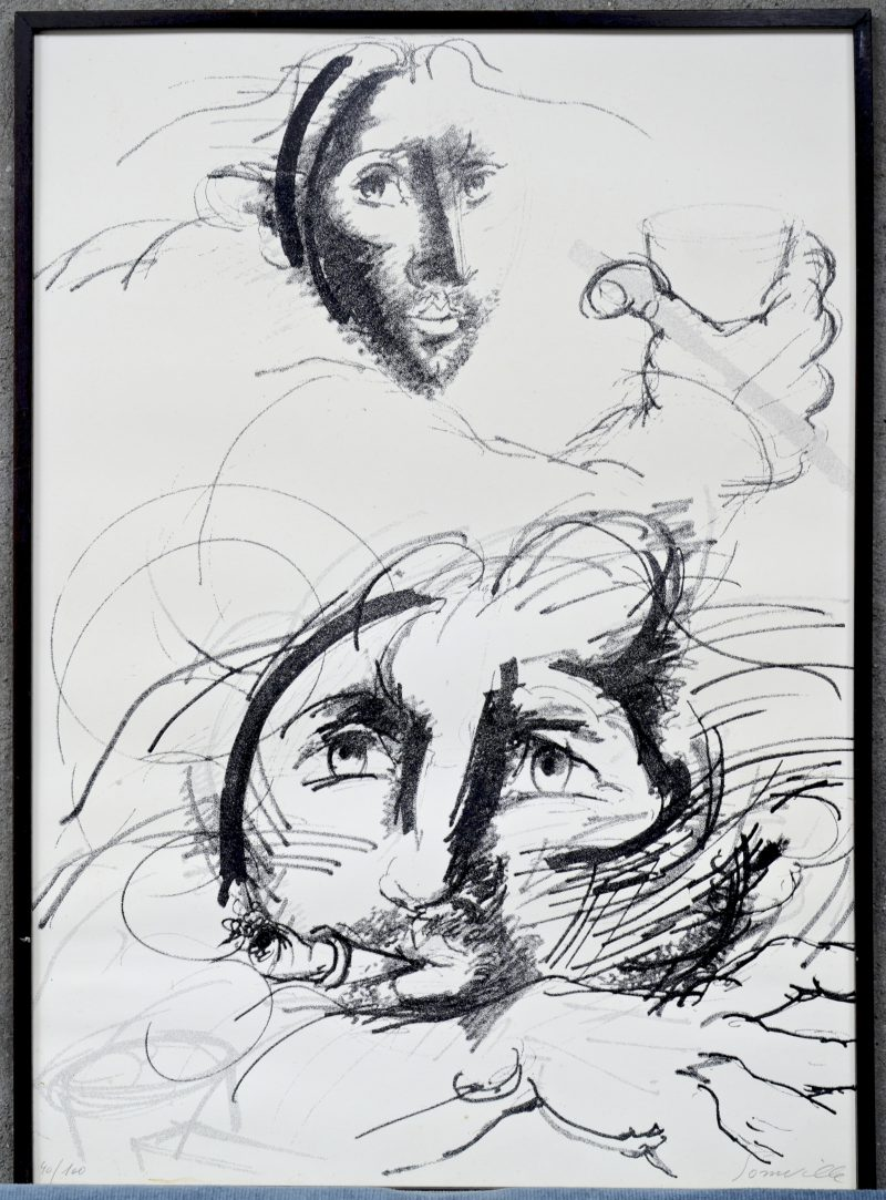 """""""Personnages"""". Litho. Gesigneerd."""