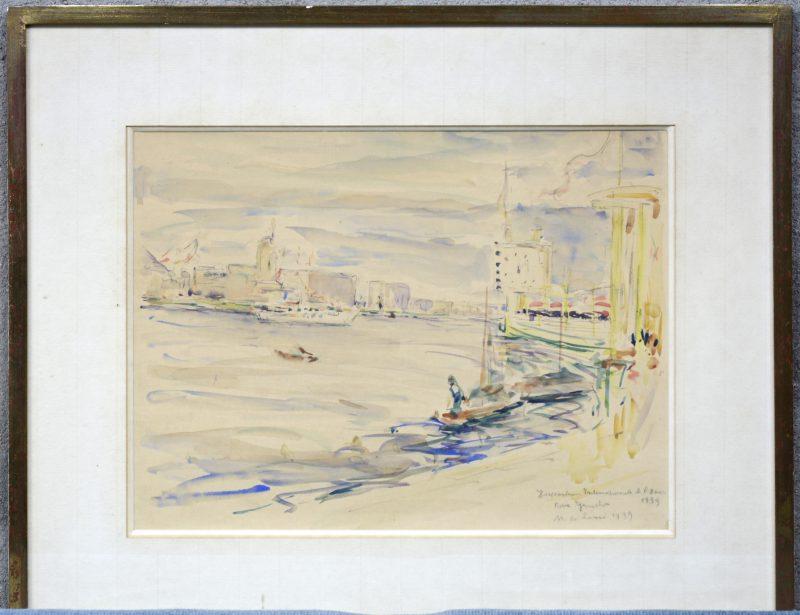 """""""Zicht op Parijs"""". Aquarel. Gesigneerd en gedateerd 1939."""