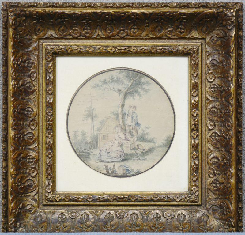 """""""Pastorale scène"""". Aquarel op papier. XIXde eeuw."""