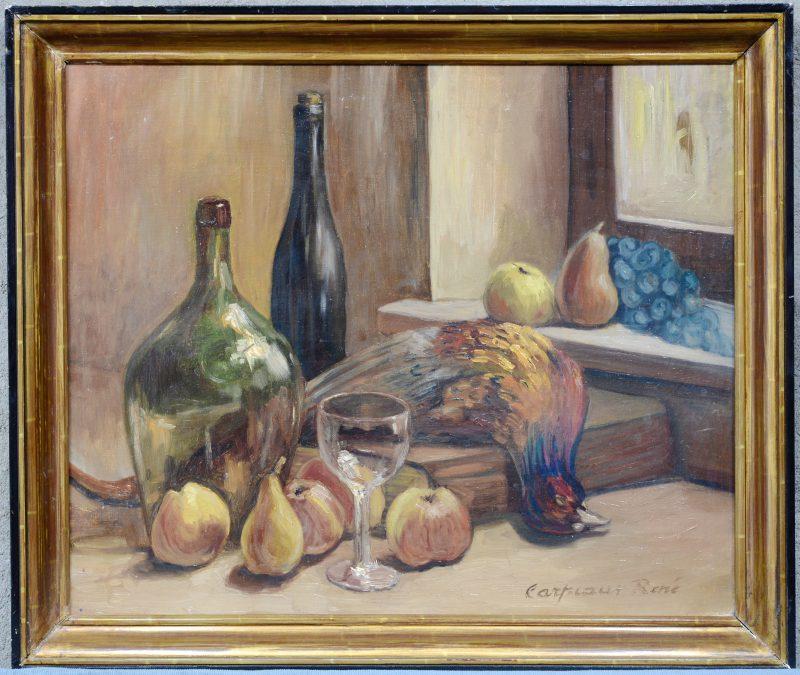 """""""Stilleven met fazant, fruit en glaswerk"""". Olieverf op doek. Gesigneerd."""