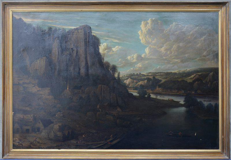 """""""Uitgebreid Maaslandschap met steengroeve op de voorgrond"""". Olieverf op doek. XIXde eeuw."""