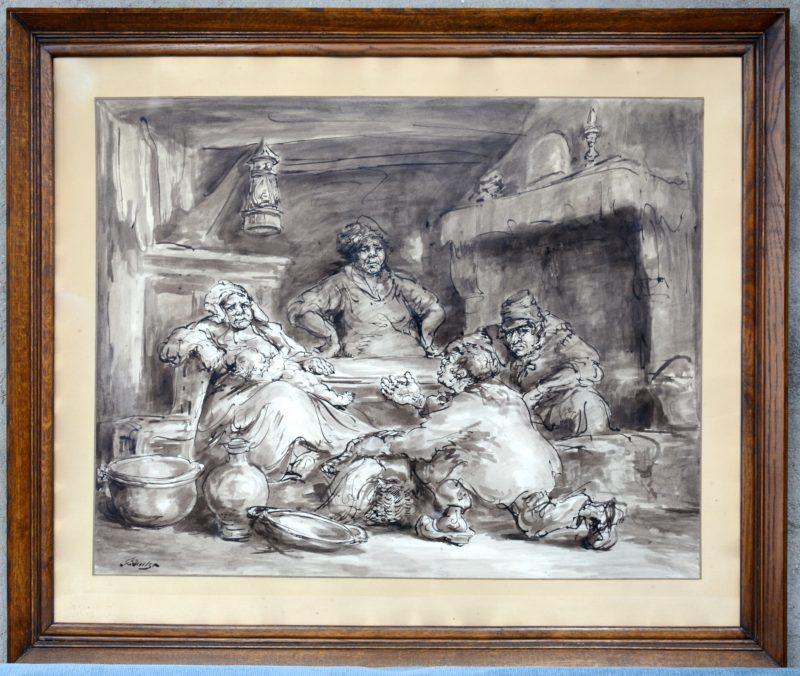 """""""De Leurder"""". Een man presenteer zijn waren aan een gezin in een landelijk interieur. Oost-indische inkt op papier. Gesigneerd."""