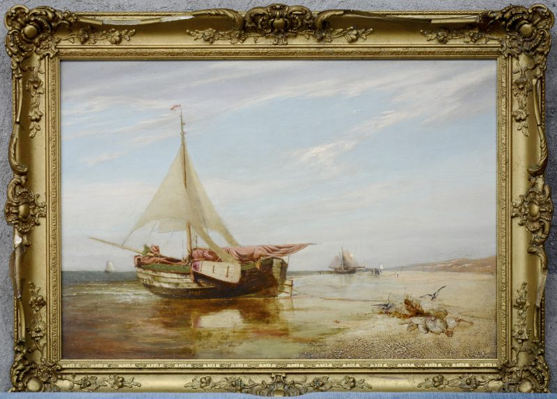 """""""Vissersboot op het strand te Scheveninge"""". Olieverf op paneel. Toegeschreven aan Frank Dillon (1823 - 1909) op de verso."""