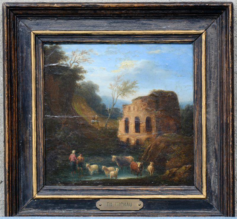 """""""Romantisch landschap met ruïne en vee. Gemonogrameerd."""