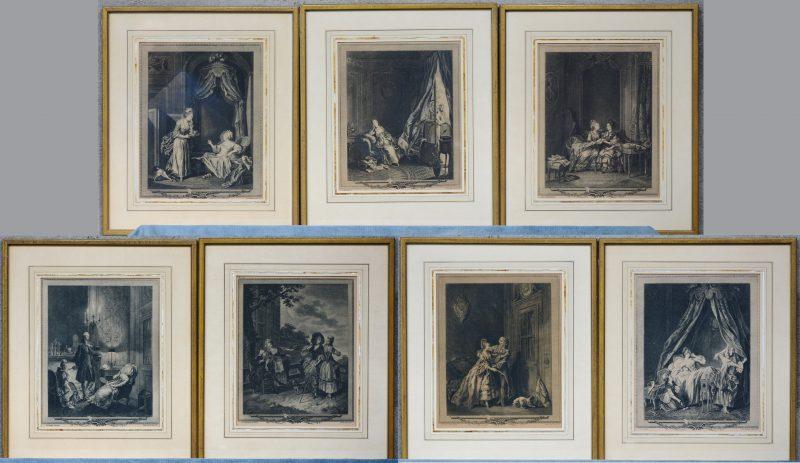 Een reeks van zeven lithografieën naar XVIIIe eeuwse werken van diverse graveurs.