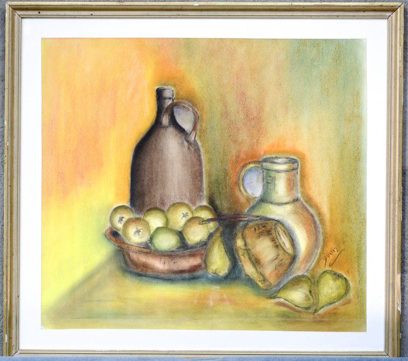 """""""Stilleven met fruit en aardewerk"""". Pastel op papier. Gesigneerd."""
