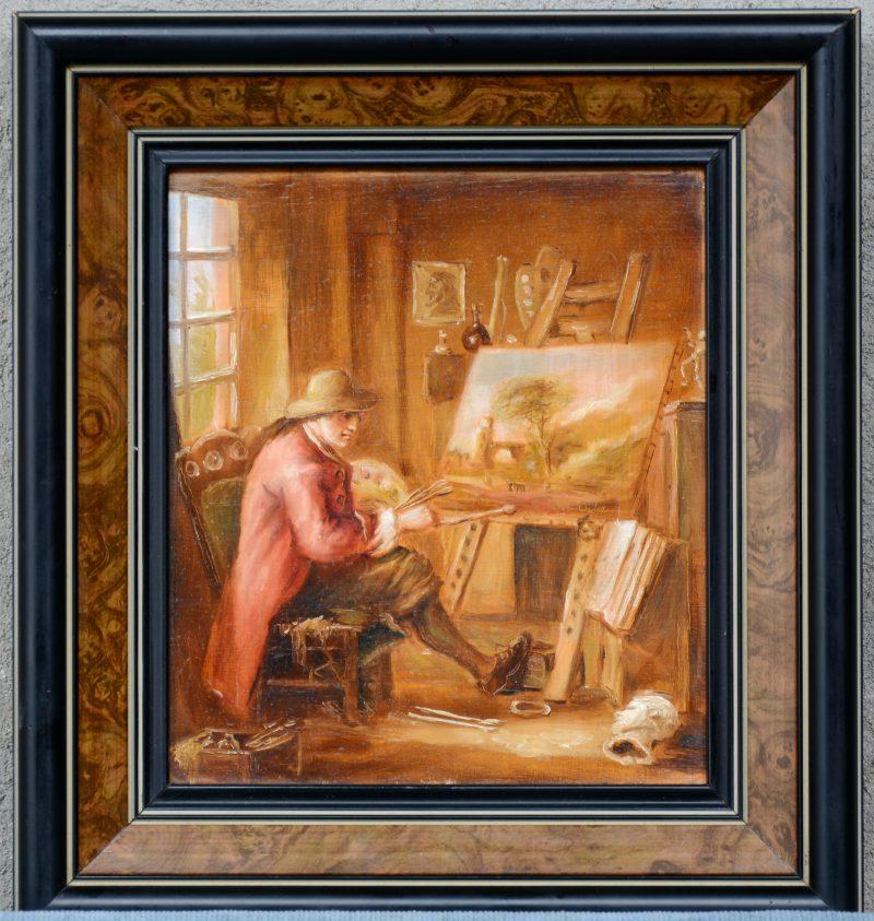 """""""De schilder"""". Olieverf op paneel. Gesigneerd."""