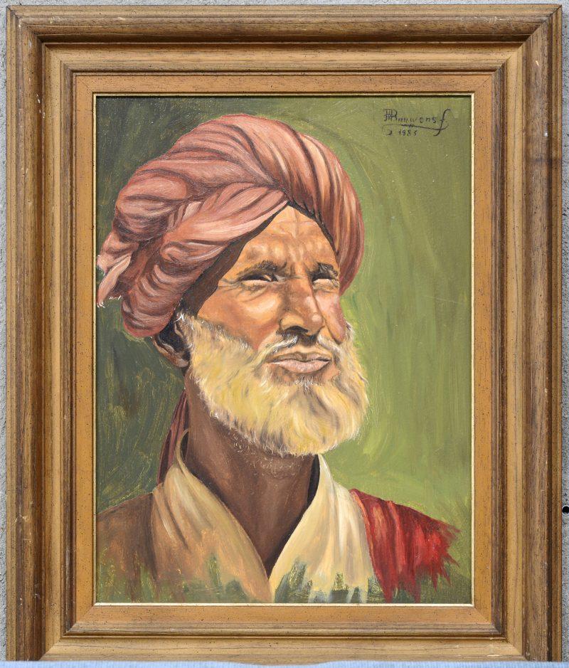 """""""Portret van een Sikh"""". Olieverf op paneel. Gesigneerd en gedateerd 1983."""