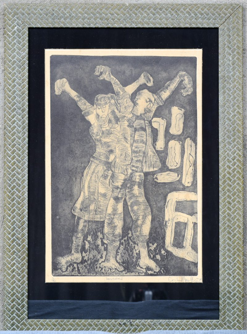 """""""Dancers"""". Een lithografie. Genummerd 7/30 buiten de plaat. Onduidelijk gesigneerd."""