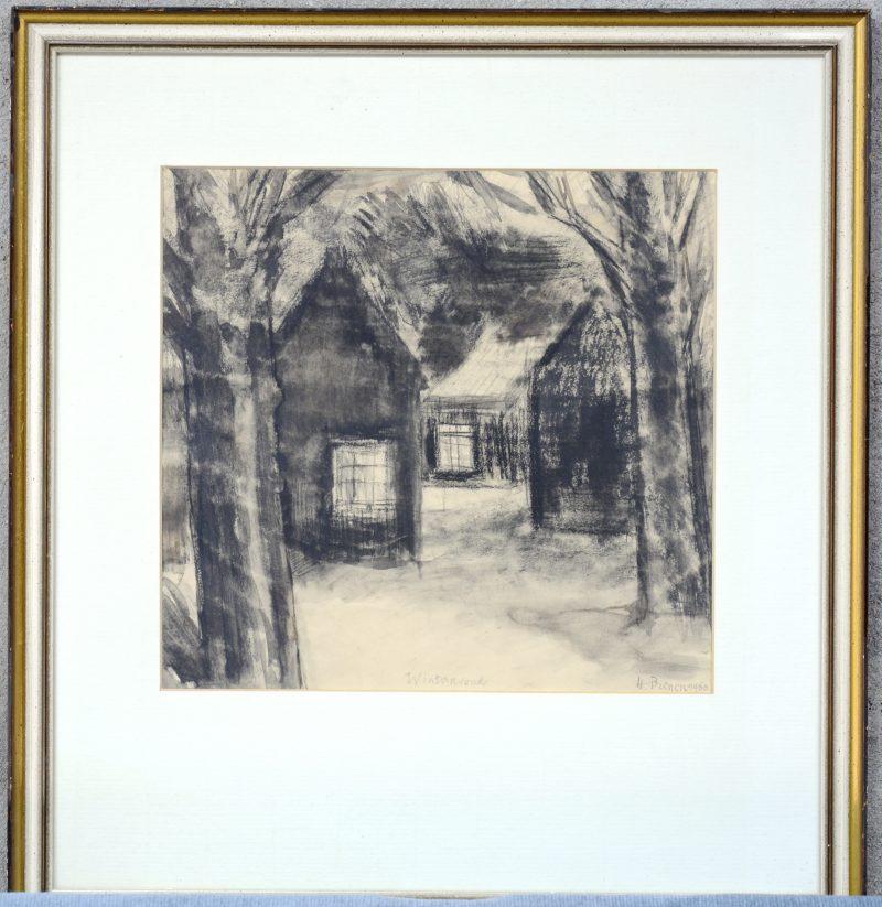 """""""Winteravond"""". Een gewassen pentekening. Gesigneerd en gedateerd 1960."""