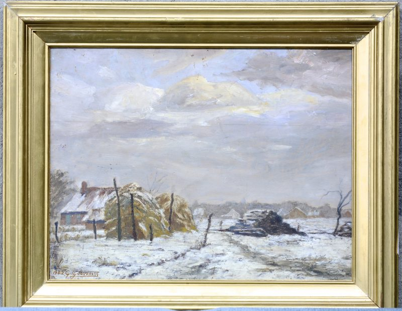 """""""Winters zicht te Schilde"""". Olieverf op paneel. Gesigneerd en gedateerd 1942."""