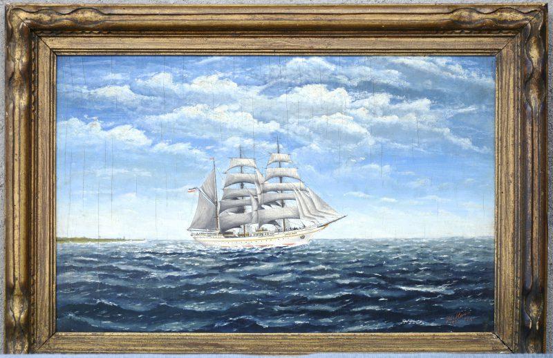 """""""Zeilschip"""". Olieverf op paneel. Gesigneerd 'J. De Haan' en gedateerd 1953. Toegeschreven aan Jurjen De Haan (°1936)."""
