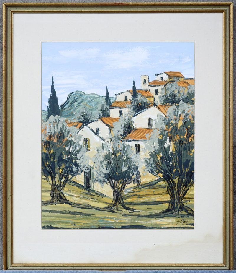 """""""Mediterraan dorpszicht"""". Olieverf op papier. Gesigneerd."""