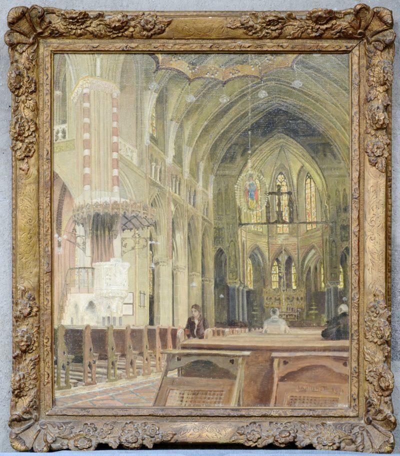 """""""Kerkinterieur"""". Olieverf op doek. Gesigneerd en gedateerd 1943."""