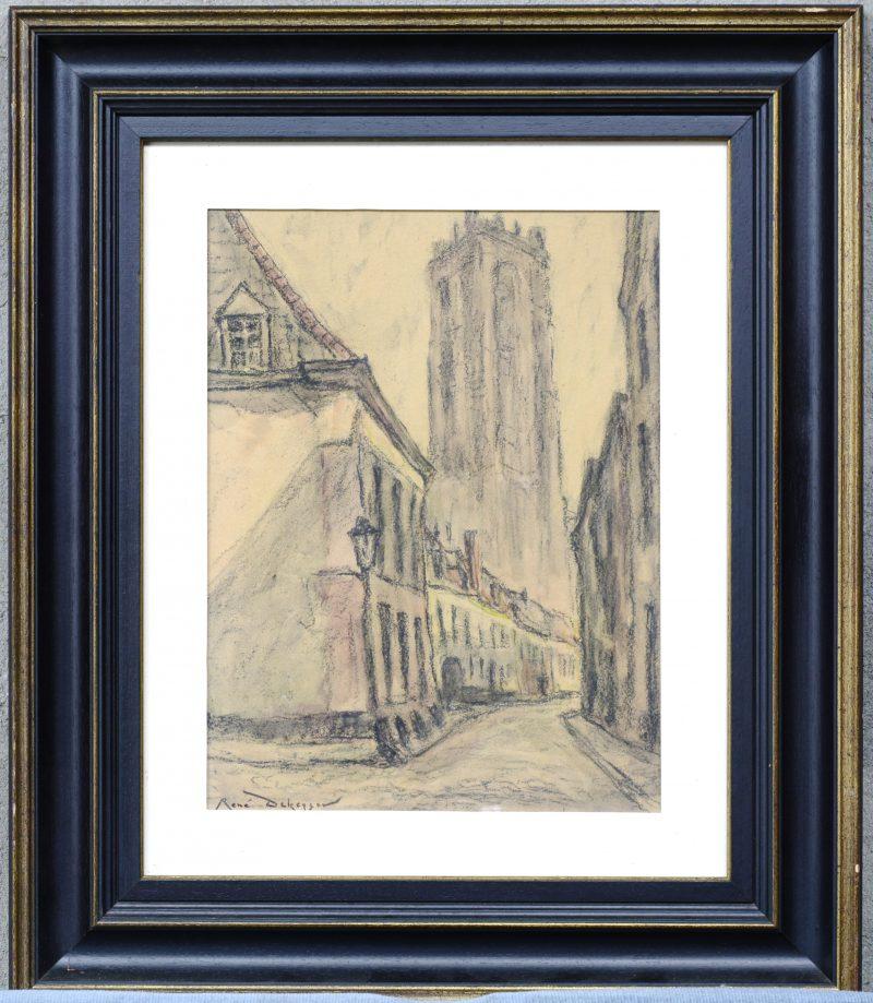 """""""Zicht op de St. Romboutstoren te Mechelen"""". Pastel op papier. Gesigneerd."""