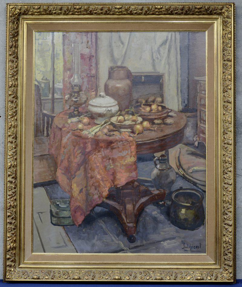 """""""Interieurstilleven met groenten, een olielamp, een terrine en een kruik op een tafel"""". Olieverf op doek. Gesigneerd."""