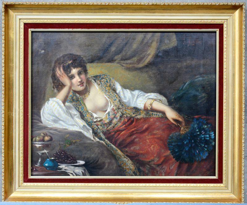 """""""Orientaals damesportret"""". Olieverf op doek. In de geest van Jan Portielje.  Gesigneerd."""