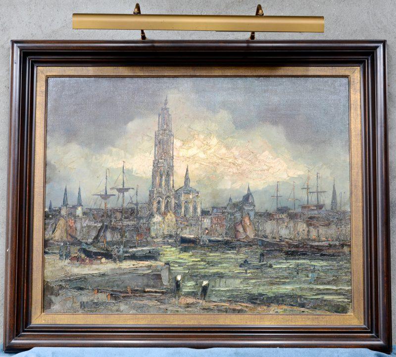 """""""De rede van Antwerpen"""". Olieverf op doek. Gesigneerd."""