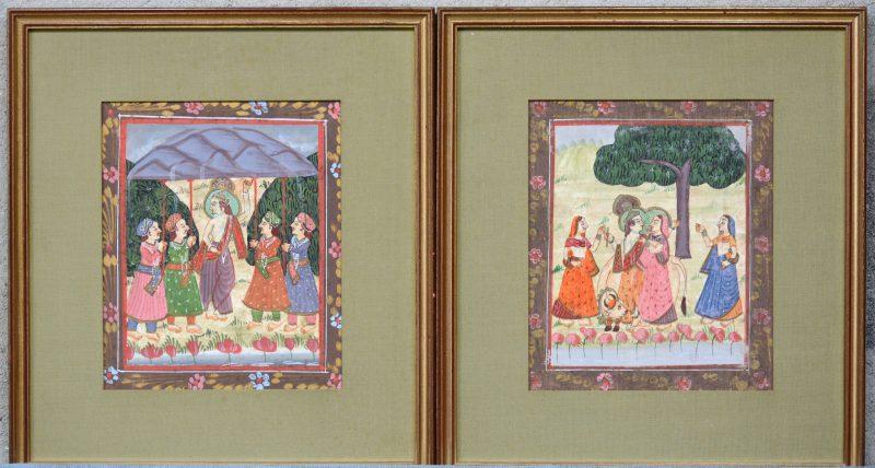 Twee Indische voorstellingen. Gouache op zijde.