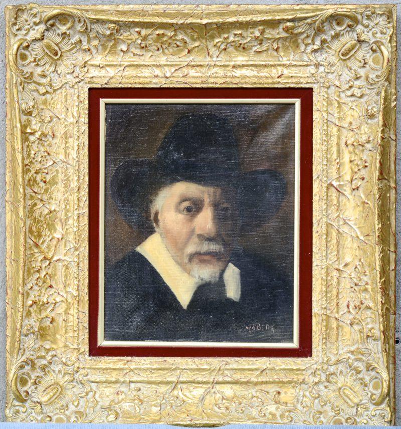 """""""Herenportret naar de XVIIde eeuw. Olieverf op doek. Gesigneerd."""